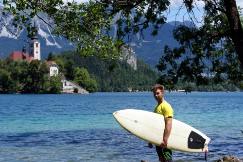 Surfing Waves at Lake Bled, Bled Slovenia
