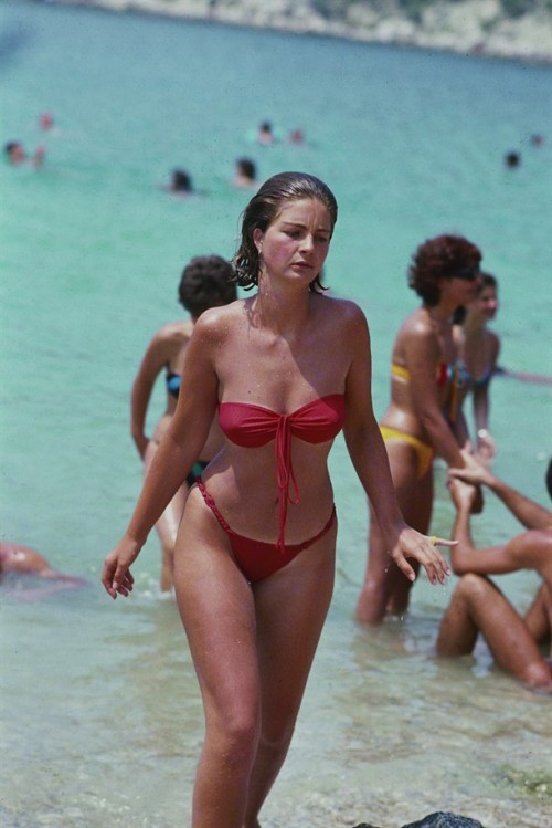 Sexy Woman Bikini Beach In The Summer Of 1985, Split Croatia