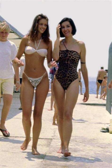Sexy Woman Bikini Beach Fashion In The Summer Of 1985, Split Croatia