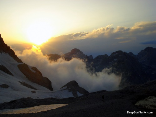 A Godly Sunset At The Triglav Mountain, Sun Is Going Down, The Mists Are Going Up