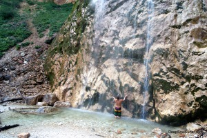 A Natural Shower Under The Rinka Waterfall