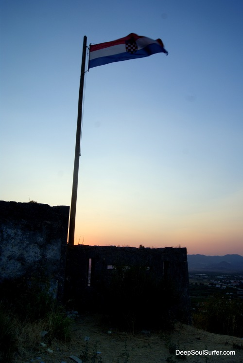 Flag Of Croatia At The Hill Fort Of Opuzen