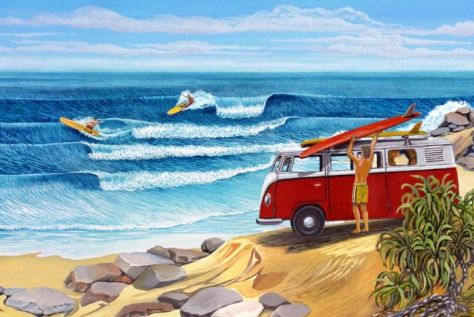 Surf Art - Surf Session In The 60s
