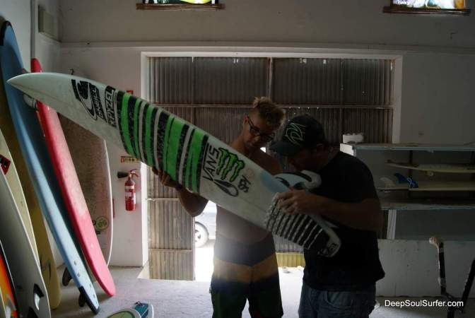 John John Florence Surfboard on Repair